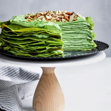 Gluten-Free Matcha Crepe Cake with White Chocolate Ganache