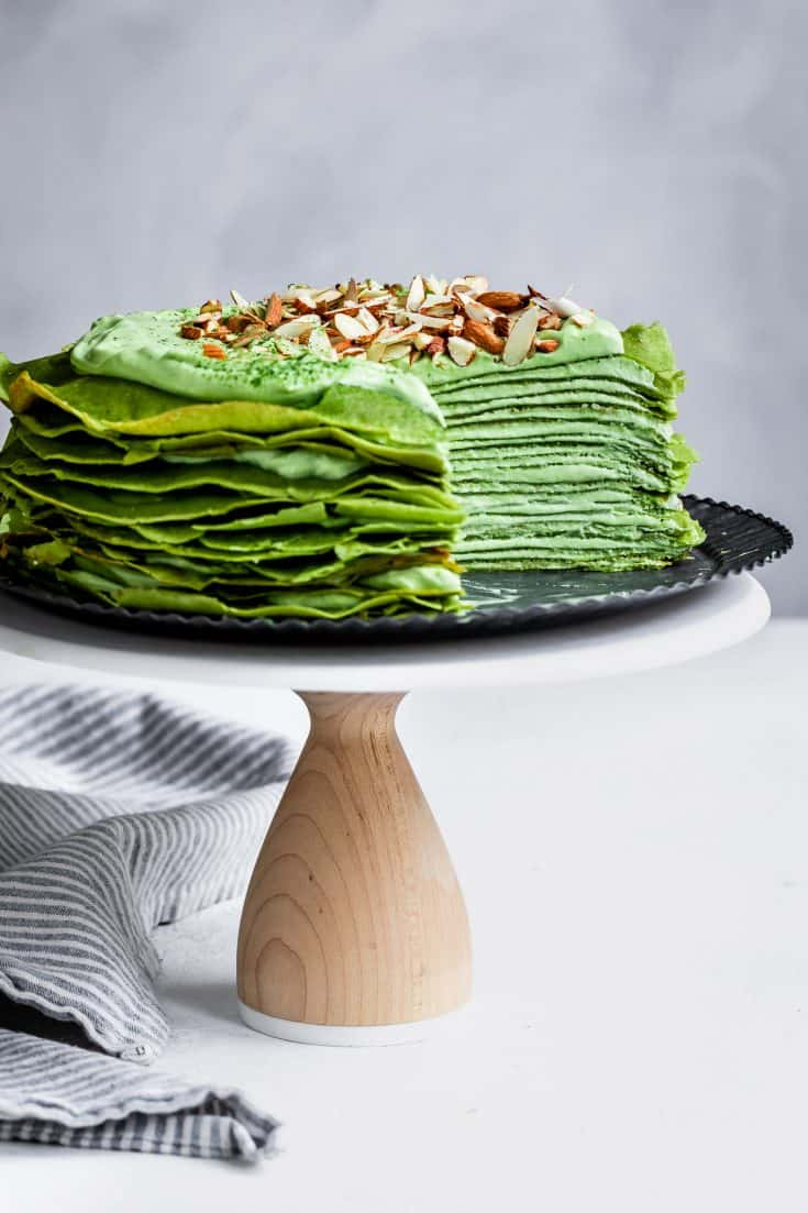 Gluten-Free Matcha Crepe Cake with Whipped White Chocolate Ganache