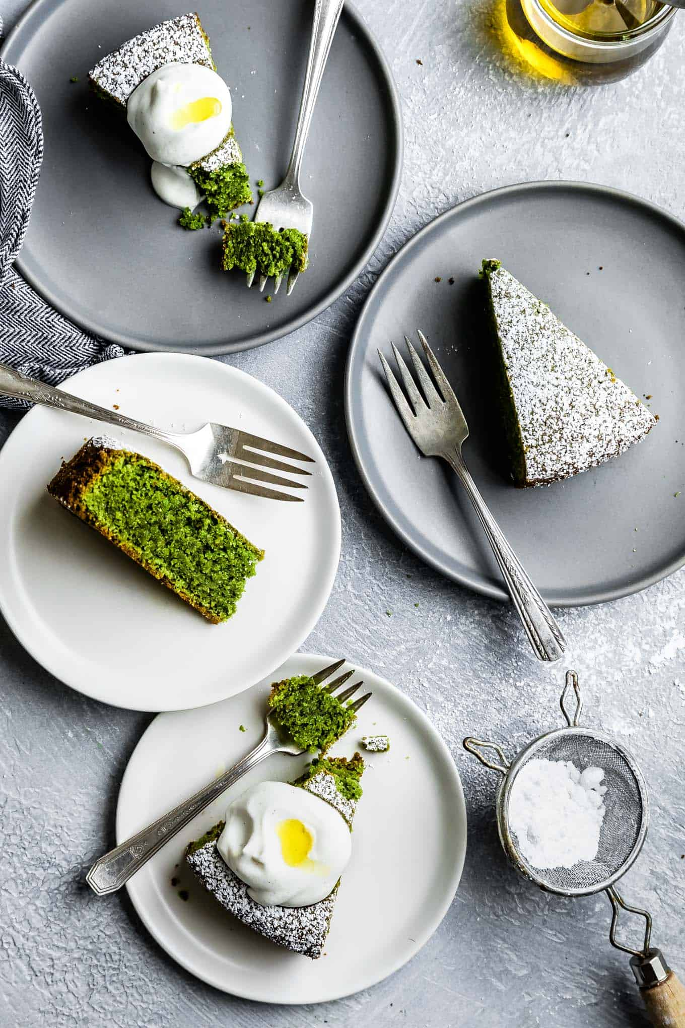 Gluten-Free Poppy Seed Olive Oil Matcha Cake