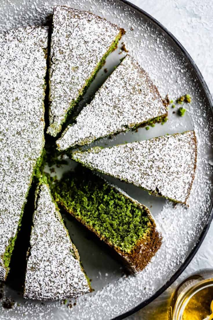 This matcha cake has complexity of nutty and earthy flavors from olive oil and poppy seeds. Made with almond and oat flours in just ONE BOWL, this tender gluten-free cake recipe has a crisp exterior that cracks when sliced and a moist delicate crumb that gets even better as it sits.