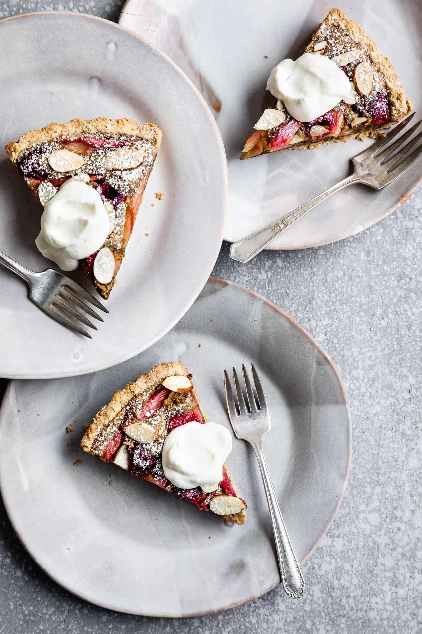 Gluten-Free Raspberry Rhubarb Almond Tart with Chai Spices