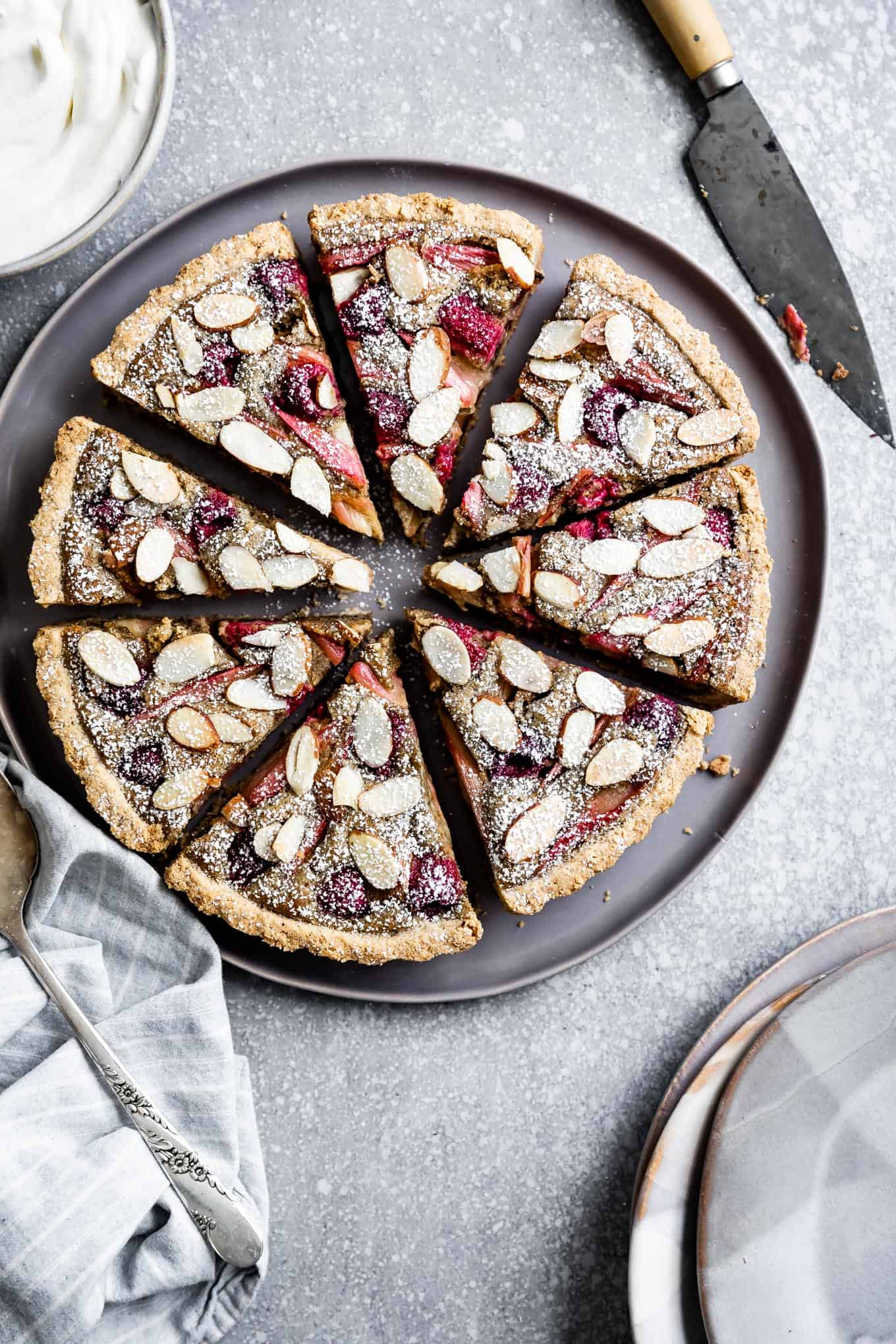 Gluten-Free Raspberry Rhubarb Almond Tart with Chai Spices