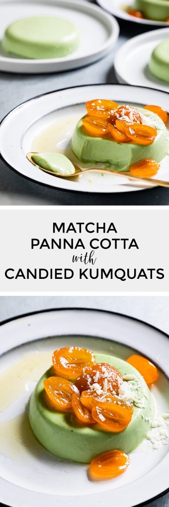 Matcha Panna Cotta with Candied Kumquats