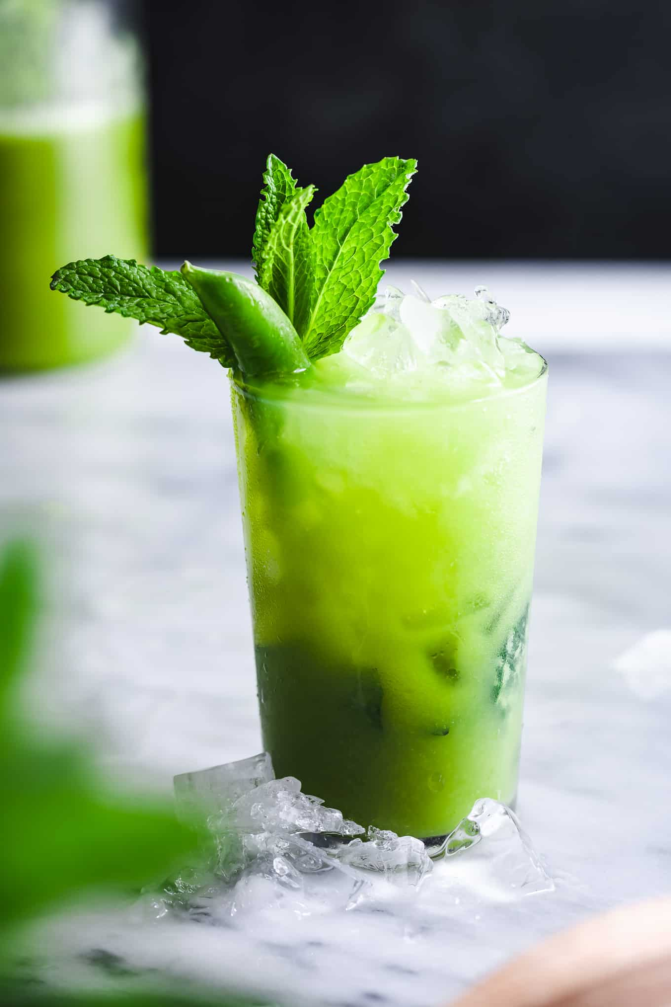 Green Mint Mocktail with Sugar Snap Peas