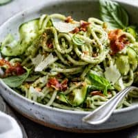 Zucchini Pesto Pasta with Roasted Almonds