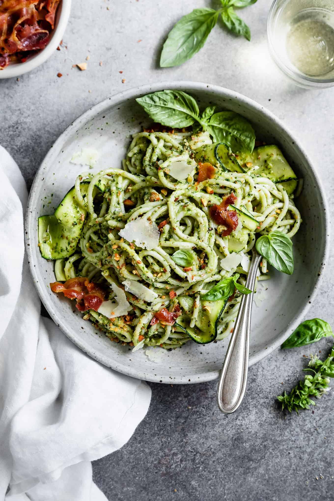 Gluten-Free Zucchini Pesto Pasta with Pancetta
