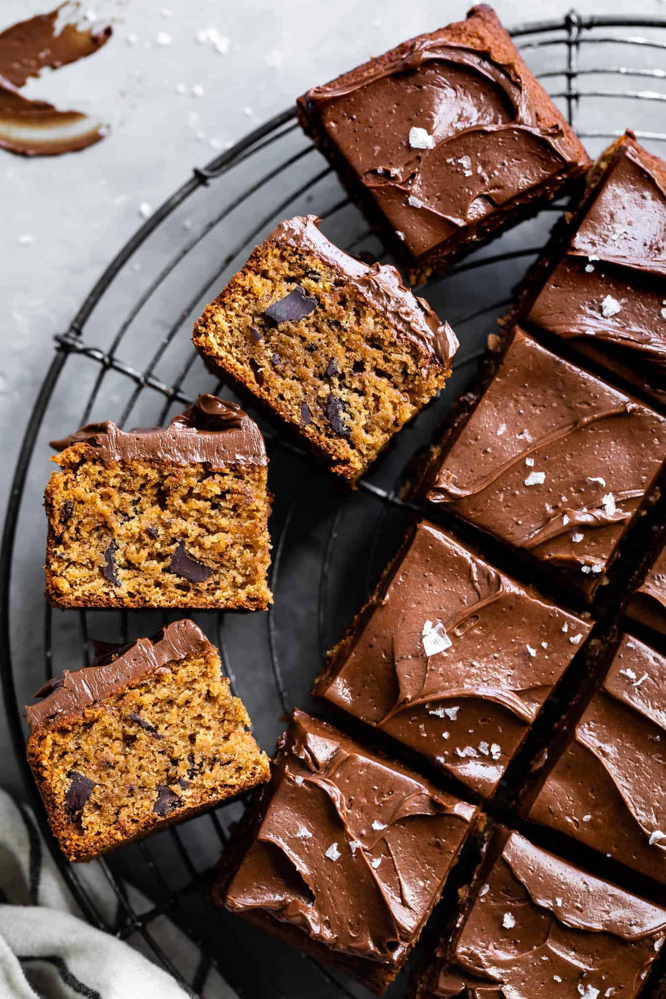 Gluten-Free Snack Tahini Coconut Flour Cake with Chocolate Buttercream