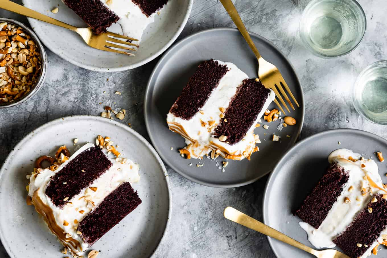 Salted Caramel Chocolate Gluten-Free Ice Cream Cake