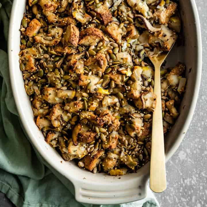 Vegan Gluten-Free Stuffing with Mushrooms and Pears