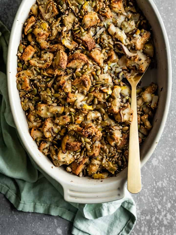 Vegan Gluten-Free Stuffing with Mushrooms & Pears