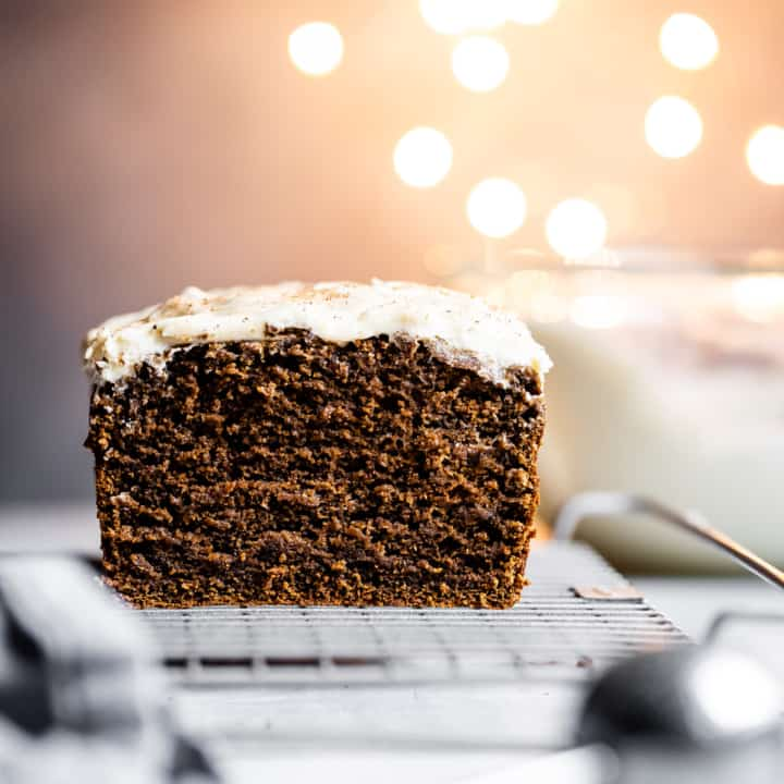 Gluten-Free Gingerbread Cake with Eggnog Frosting