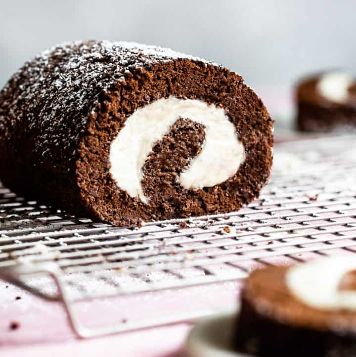 Chocolate Gluten-Free Swiss Roll Cake