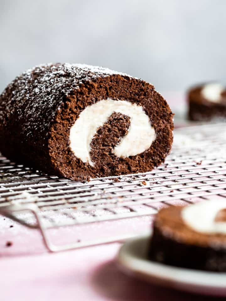 Chocolate Gluten-Free Swiss Roll Cake