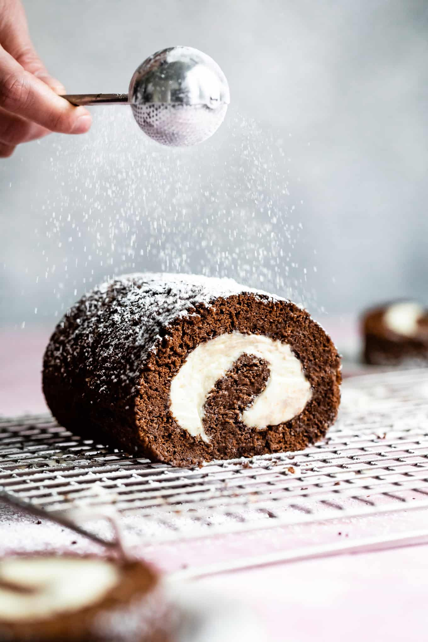 Chocolate Roll Cake with Cream Cheese Filling