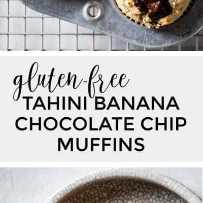 Healthy Banana Chocolate Chip Muffins with Tahini