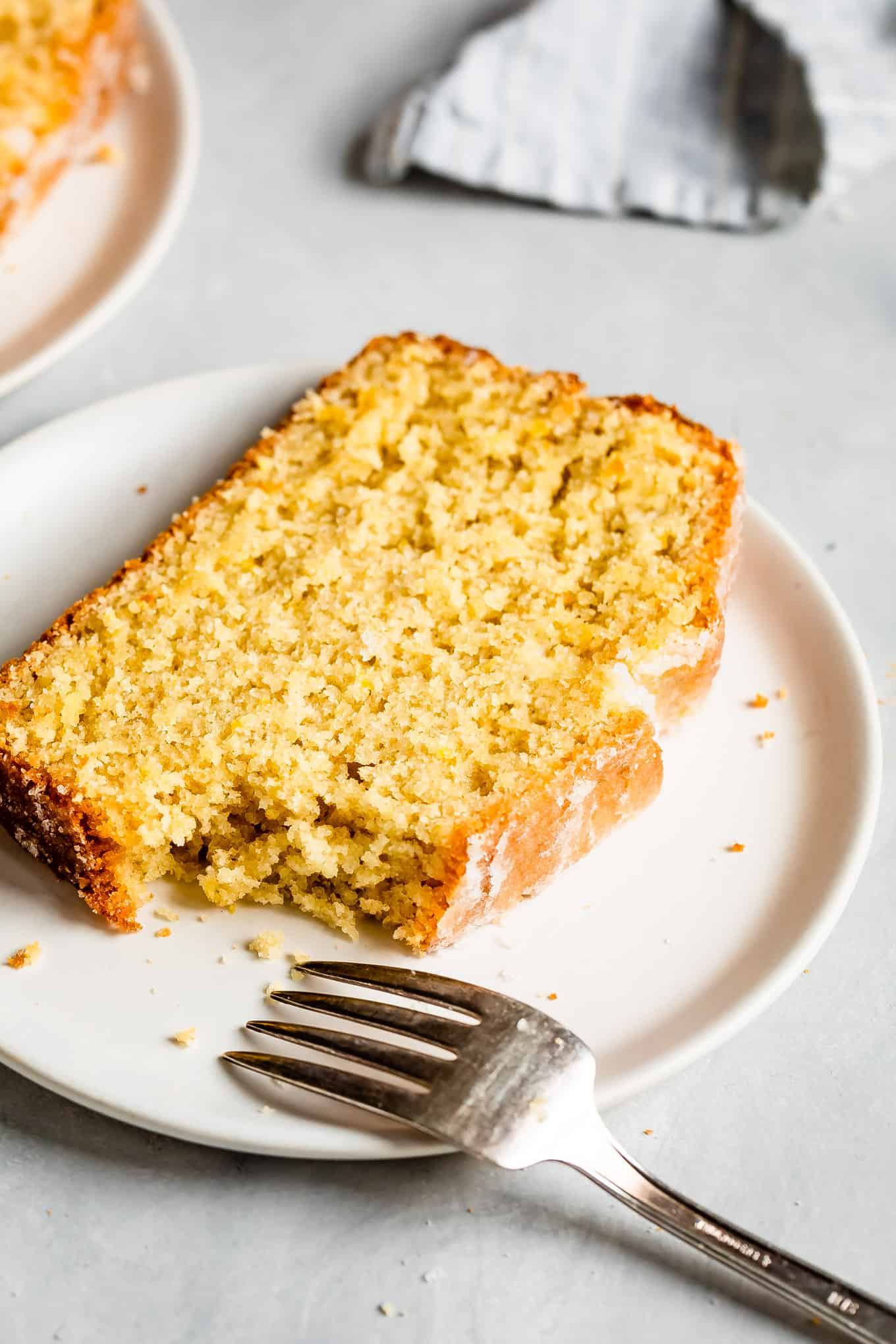 Gluten-Free Lemon Loaf Slice on Plate