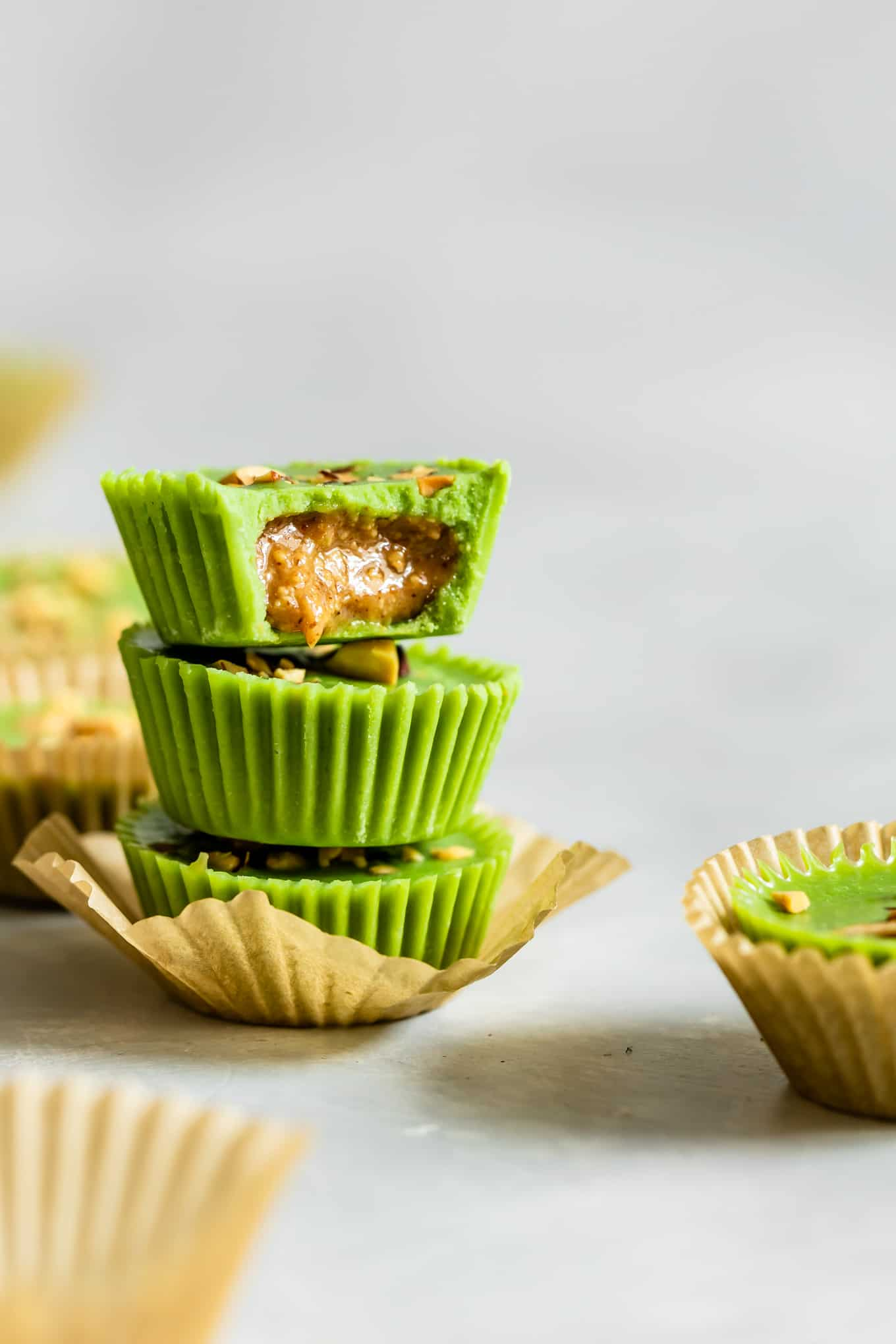Matcha Coconut Butter Cups with Almond Butter Filling