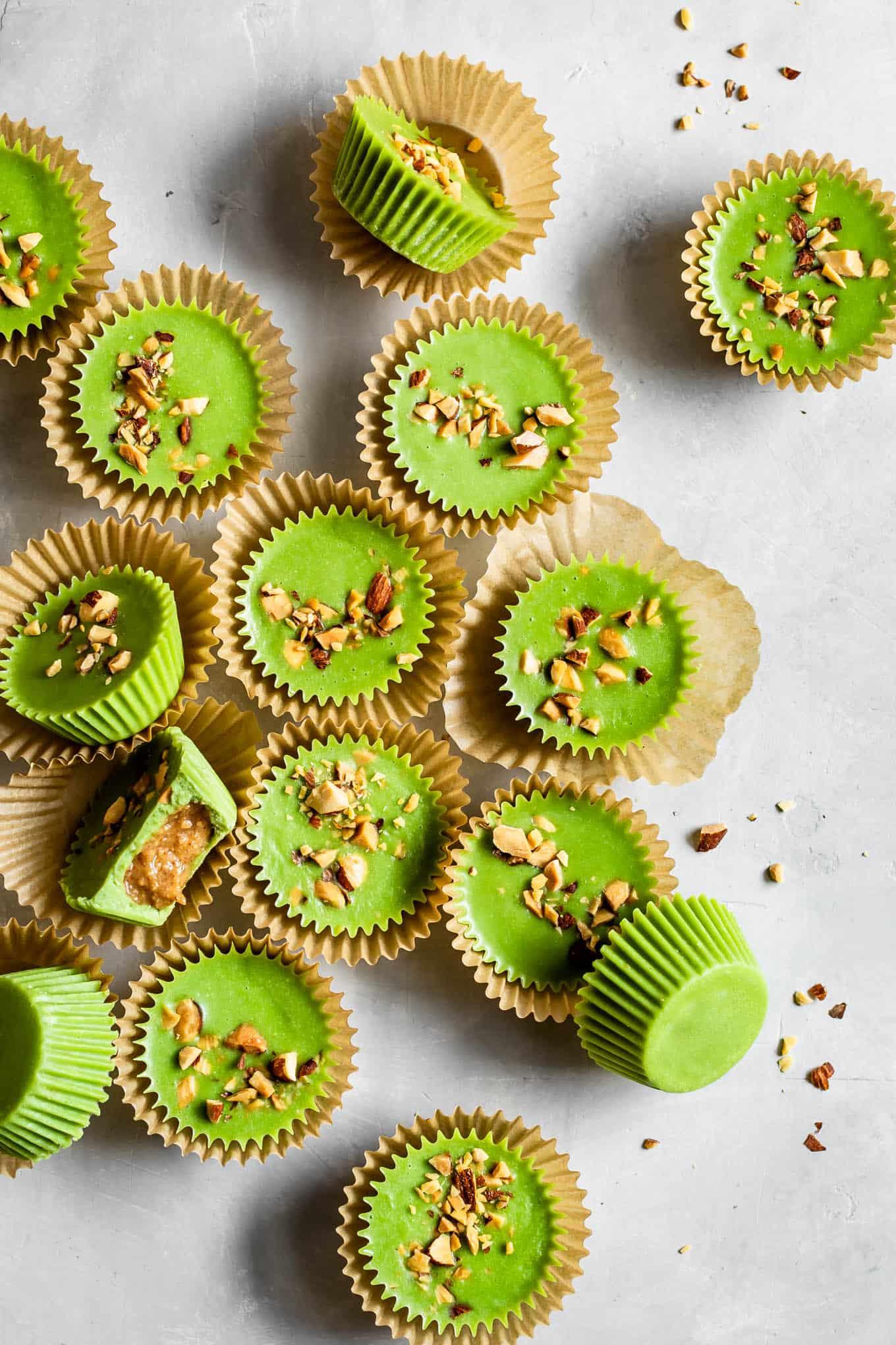 Bright Green Matcha Almond Butter Cups