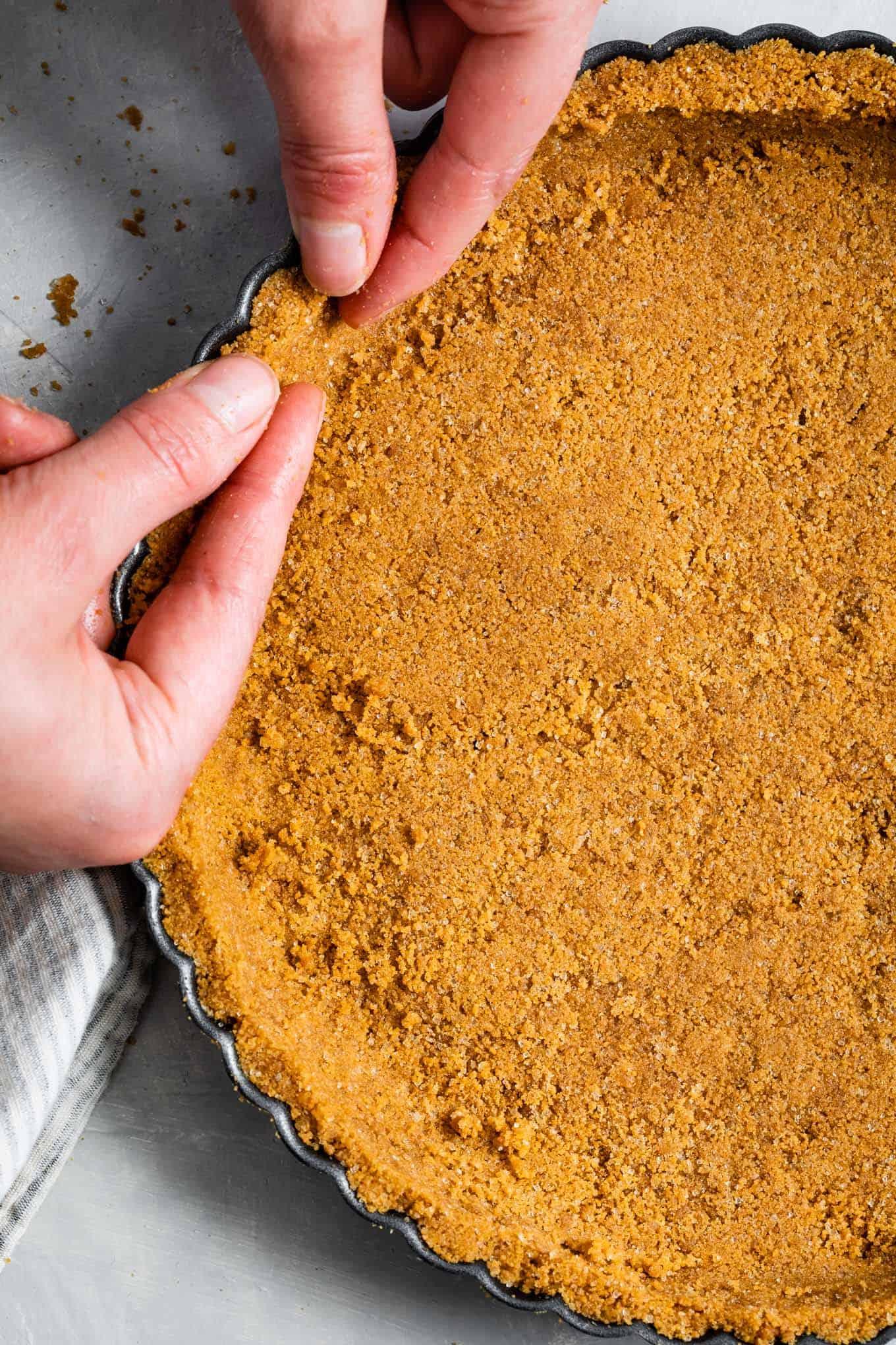 Gluten-Free Graham Cracker Cheesecake Crust in Tart Pan