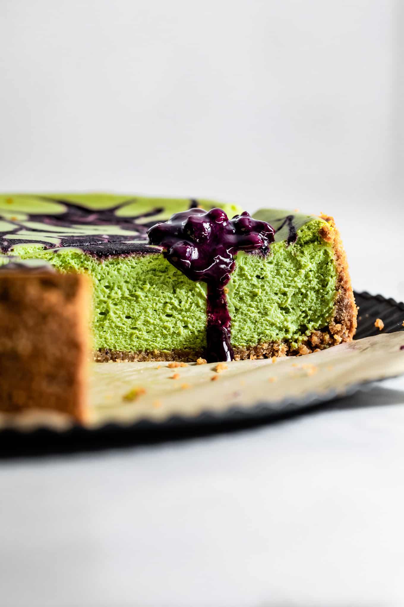 Slice of Matcha Cheesecake