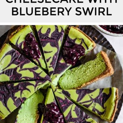 Matcha Cheesecake with Blueberry Swirl