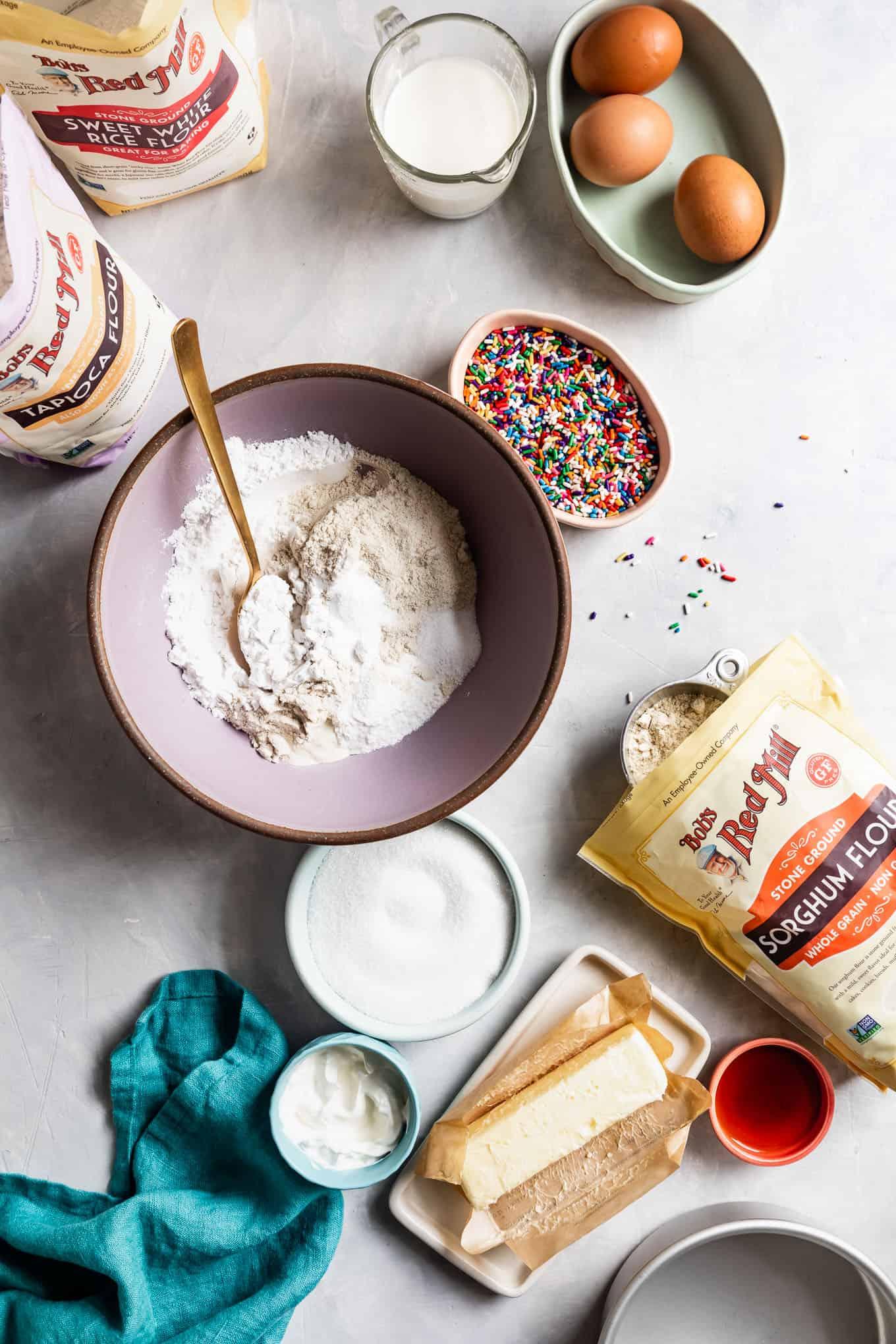 Ingredients for Gluten-Free Funfetti Cake
