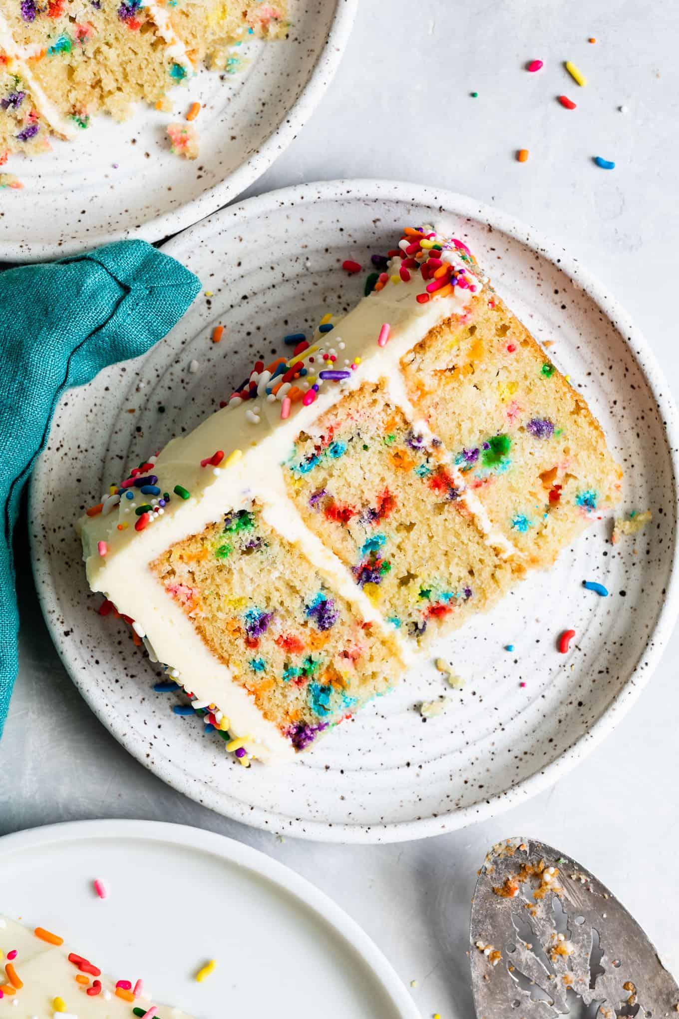 Slice of Gluten-Free Funfetti Birthday Cake