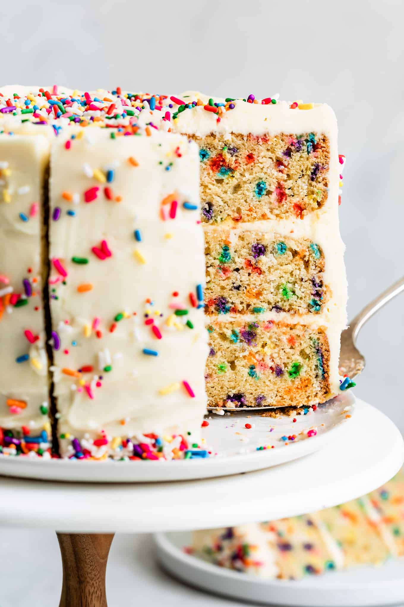 Sliced Gluten-Free Funfetti Cake