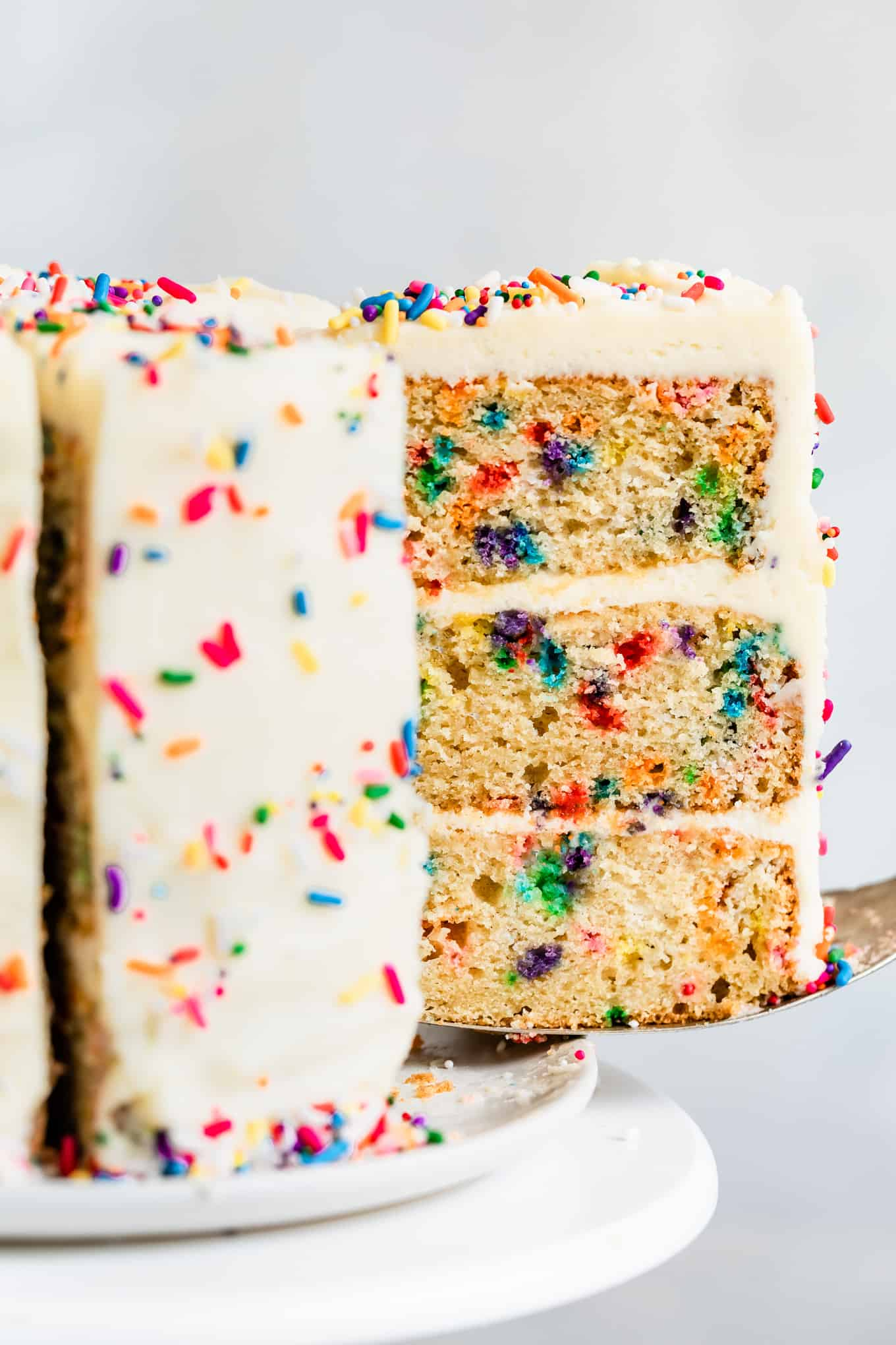 Close-up of Gluten-Free Funfetti Cake with Frosting and Sprinkles