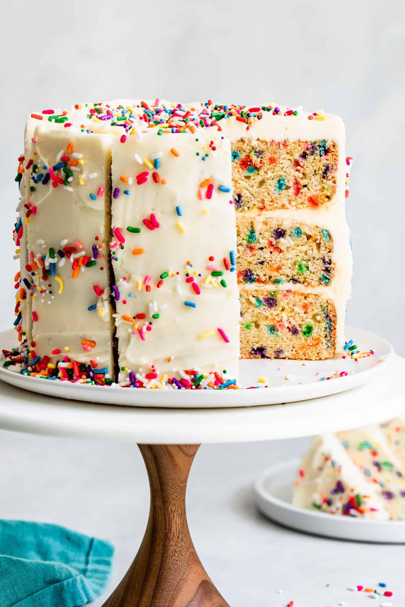 Vanilla Buttercream on Gluten-Free Birthday Cake