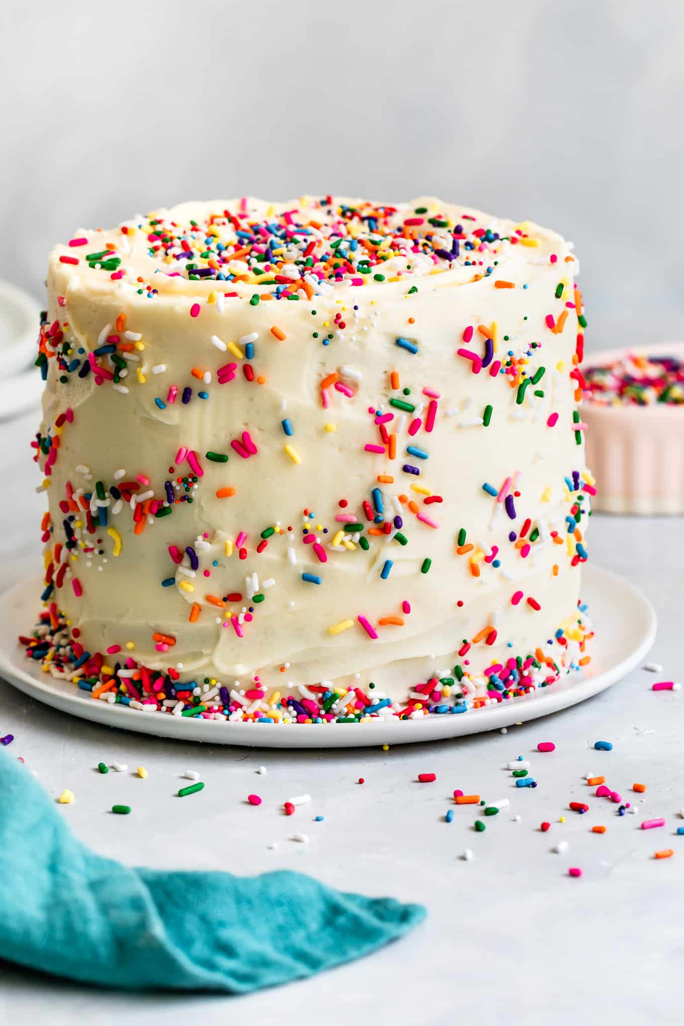 Frosted Gluten-Free Sprinkle Cake