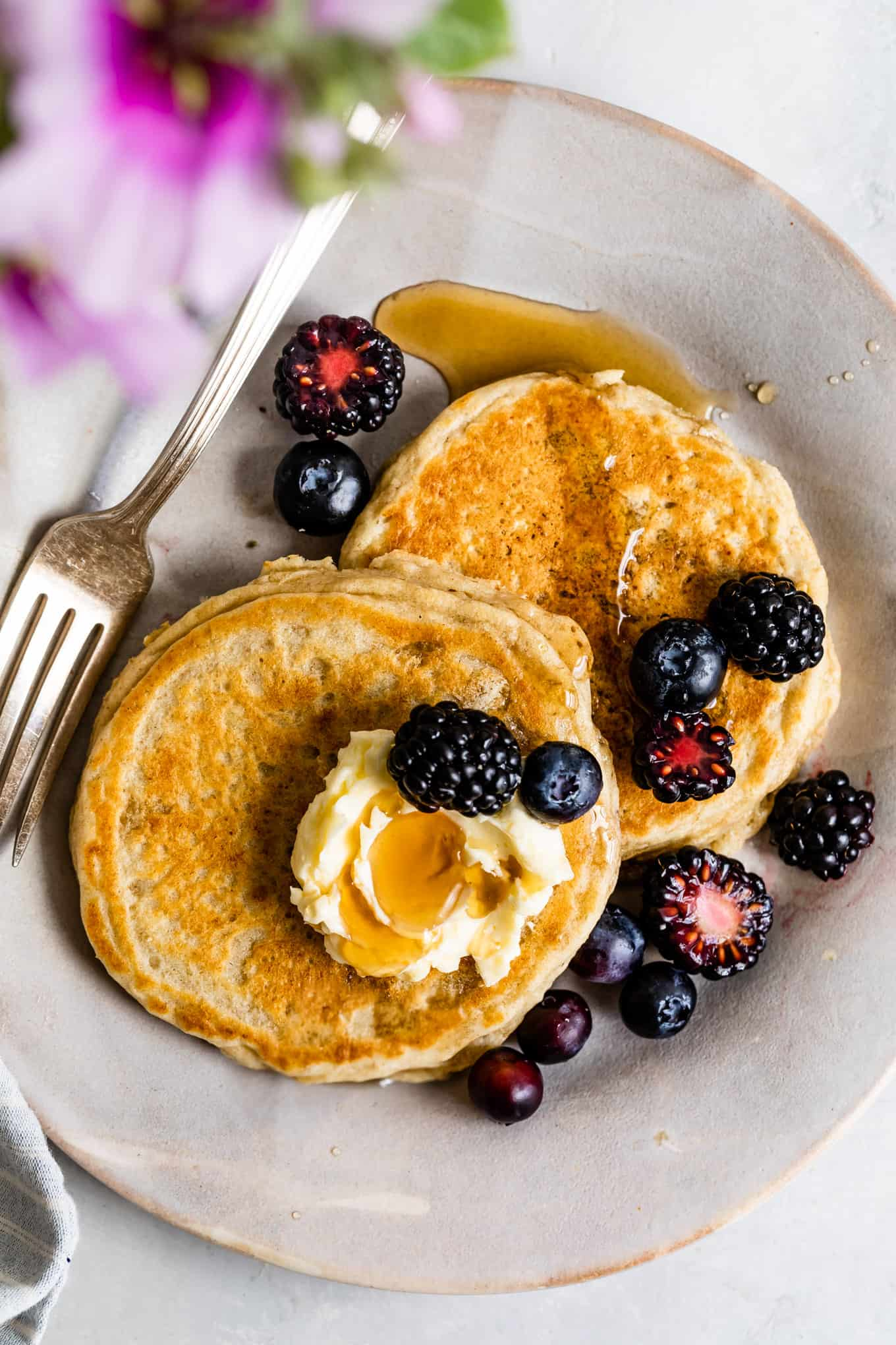 Gluten-free blueberry pancakes with syrup
