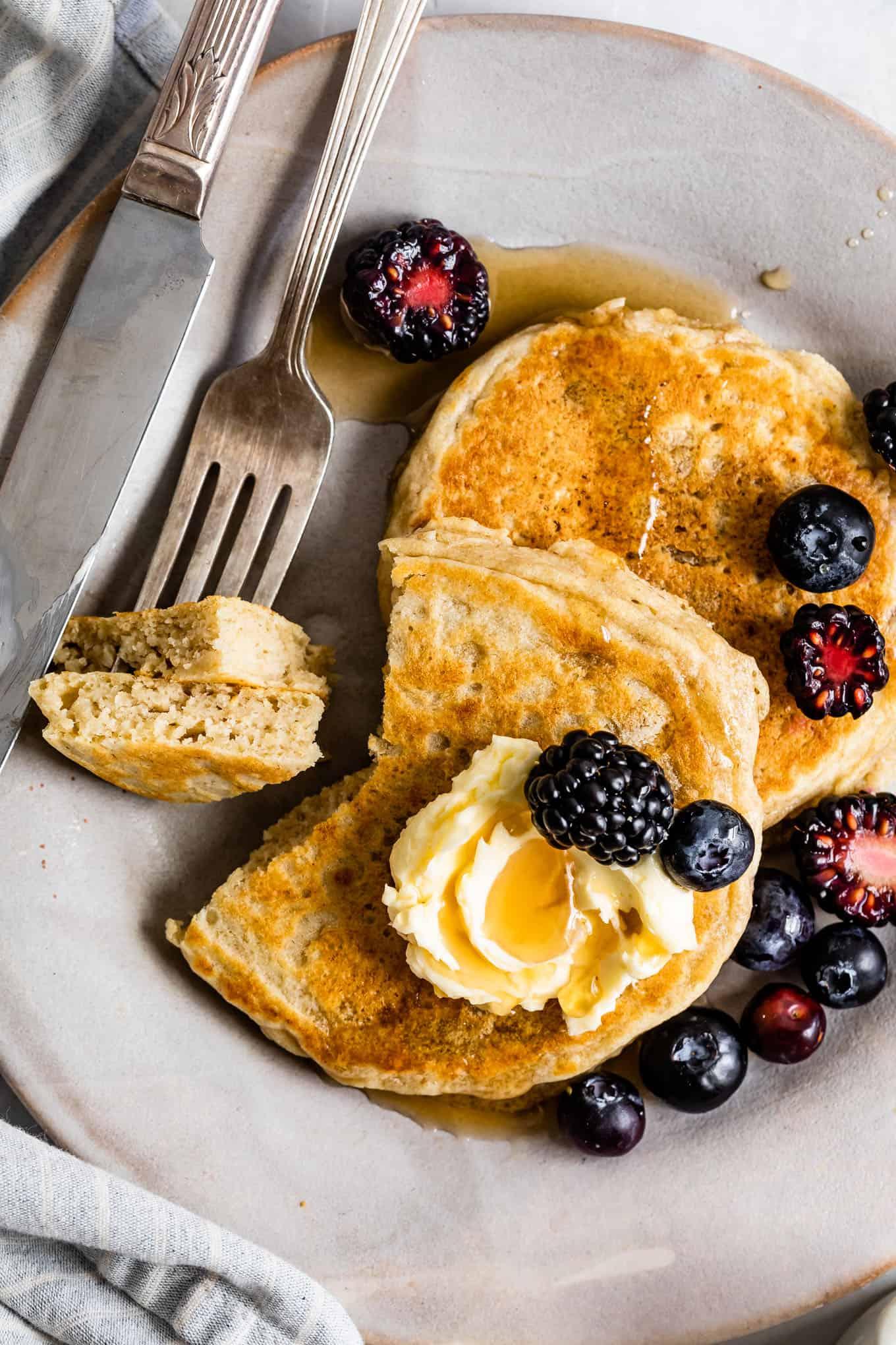 Inside of homemade gluten-free pancakes