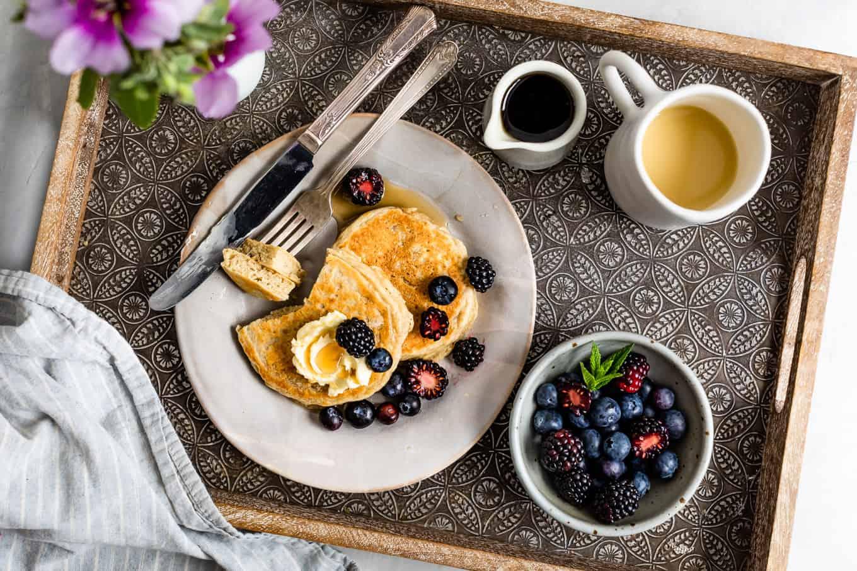 Breakfast tray of fluffy gluten-free dairy-free pancakes