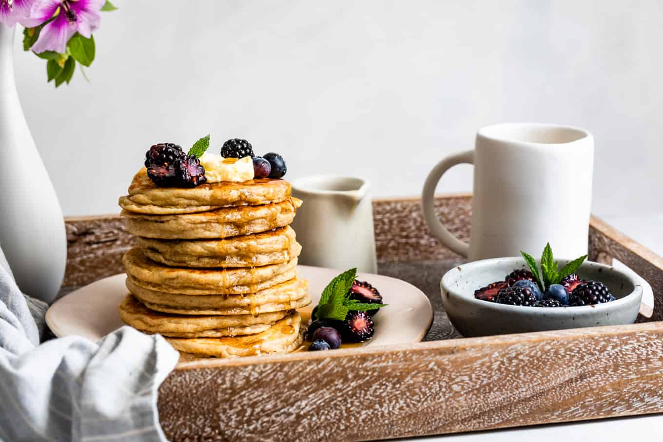 Mother's Day Breakfast in Bed Gluten-Free Pancakes Stack